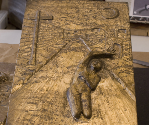 Cast bronze relief triptych. 17 x 11.5 in.