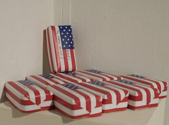Wood, printed paper. For each purcase of a Toy Soldier $10 will be donated to Disabled   Veterans of America .